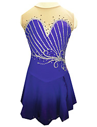 cheap -Figure Skating Dress Women's Girls' Ice Skating Dress Dark Purple Rhinestone Fashion Performance Handmade Skating Wear Sleeveless Ice