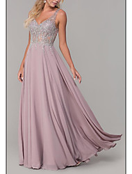 cheap -A-Line Plunging Neck Floor Length Chiffon Elegant Prom / Formal Evening Dress 2020 with Pleats / Lace Insert