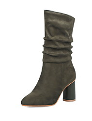 cheap -Women's Boots Chunky Heel Pointed Toe Suede Mid-Calf Boots Winter Black / Army Green / Red