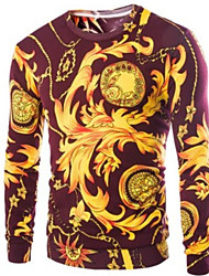 cheap -Men's Geometric Long Sleeve Pullover Sweater Jumper, Round Neck Wine / White M / L / XL