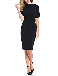 cheap -Sheath / Column Elegant Holiday Cocktail Party Dress Boat Neck Short Sleeve Knee Length Stretch Satin with Split Front 2021