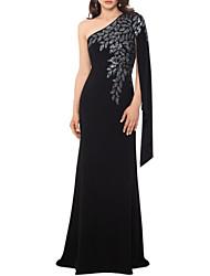 cheap -Sheath / Column Elegant Formal Evening Dress One Shoulder Sleeveless Floor Length Polyester with Appliques 2020