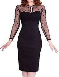cheap -Women's Black Dress Elegant Sheath Solid Colored S M Slim