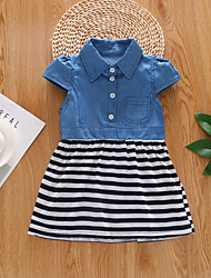 cheap -Baby Girls' Active / Basic Black & White / Blue Striped / Solid Colored Short Sleeve Dress Blue