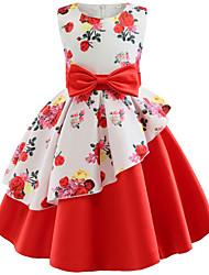 Недорогие -Дети Девочки Цветы Цветочный принт Без рукавов Платье Лиловый