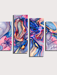 cheap -Print Rolled Canvas Prints Stretched Canvas Prints - Abstract Modern Four Panels Art Prints