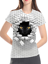 cheap -Women's Daily Club Basic / Exaggerated T-shirt - 3D / Graphic / Animal Cat, Print Gray
