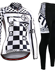 cheap -21Grams Women's Long Sleeve Cycling Jersey with Tights Winter Fleece Black+White Sugar Skull Skull Bike Clothing Suit Ultraviolet Resistant Quick Dry Breathable Back Pocket Sports Sugar Skull