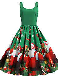 cheap -Women's Swing Dress Green Sleeveless Santa Claus Snowflake Print Strap Basic Vintage Christmas S M L XL XXL