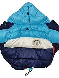 abordables -Chien Manteaux Pulls à capuche Combinaison-pantalon Hiver Vêtements pour Chien Bleu Rose Costume Coton Couleur Pleine Garder au chaud Coupe-vent S M L XL XXL