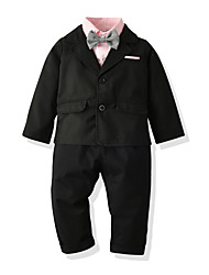 cheap -Kids Toddler Boys' Basic Birthday Party Party & Evening Solid Colored Bow Long Sleeve Regular Regular Clothing Set Black
