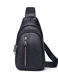 cheap -Men's Zipper Cowhide Sling Shoulder Bag Solid Color Black