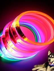 cheap -Dog Collar LED Lights Flashing Rubber White Orange Yellow