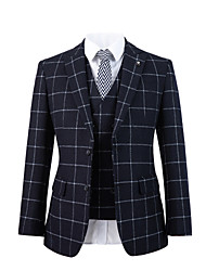 cheap -Dark blue windowpane tweed wool custom suit