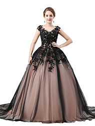 cheap -Ball Gown V Neck Sweep / Brush Train Tulle Elegant Prom / Formal Evening Dress with Appliques 2020