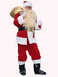 cheap -Santa Claus Cosplay Costume Men's Adults' Costume Party Christmas Christmas Leather 1 x Pouch / Women's / Top / Pants / Gloves / Belt