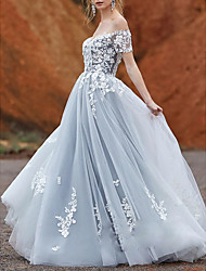 cheap -A-Line Wedding Dresses Off Shoulder Sweep / Brush Train Lace Tulle Short Sleeve with Appliques 2020