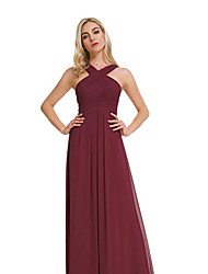 cheap -A-Line Cross Front Floor Length Chiffon Bridesmaid Dress with Ruching / Pleats