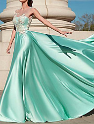 cheap -A-Line Elegant Formal Evening Dress Jewel Neck Sleeveless Floor Length Polyester with Pleats Appliques 2021
