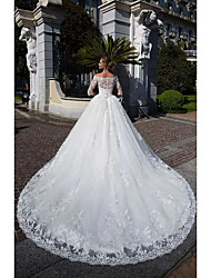 cheap -Ball Gown Off Shoulder Chapel Train Lace / Tulle / Lace Over Satin Half Sleeve Formal Sparkle & Shine / Illusion Sleeve Wedding Dresses with Lace / Appliques 2020