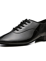 cheap -Men's Modern Shoes / Ballroom Shoes PU Lace-up Heel Flat Heel Dance Shoes Black / White / Performance / Practice