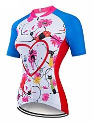 abordables -CAWANFLY Femme Manches Courtes Maillot Velo Cyclisme Ciel bleu + blanc Géométrique Cyclisme Maillot Hauts / Top VTT Vélo tout terrain Vélo Route Respirable Séchage rapide Poche arrière Des sports