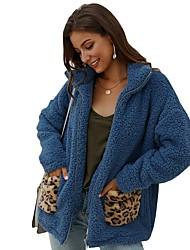cheap -Women's Daily Fall & Winter Long Faux Fur Coat, Leopard Turndown Long Sleeve Faux Fur Blue / Camel / Beige