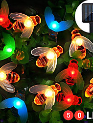 cheap -ZDM 8 Functions Solar Bee Lights Lovely Fairy Bee Lights 5M 50 LED Outdoor Lights Waterproof Garden Terrace Flowers And Trees Party Celebration DC3V