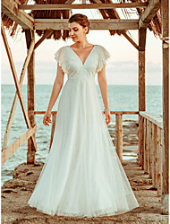 cheap -A-Line V Neck Floor Length Lace / Tulle Short Sleeve Sexy Made-To-Measure Wedding Dresses with Lace 2020
