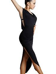 abordables -Danse latine Robes / Flamenco Femme Entraînement / Utilisation Fibre de Lait Bandeau / Pom pom Sans Manches Taille moyenne Robe