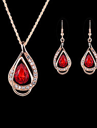 cheap -Women's Drop Earrings Pendant Necklace Briolette Pear Stylish Classic Elegant everyday Rhinestone Earrings Jewelry White / Red / Blue For Gift Daily Prom 1 set