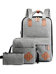 cheap -Unisex Zipper Canvas Bag Set Color Block 3 Pcs Purse Set Black / Blue / Red