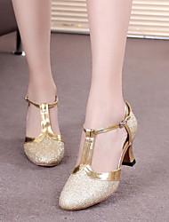 cheap -Women's Modern Shoes Ballroom Shoes Line Dance Heel Buckle Paillette Cuban Heel Silver Gray Black Purple Buckle
