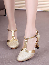 cheap -Women's Modern Shoes / Ballroom Shoes Synthetics Buckle Heel Buckle / Paillette Cuban Heel Dance Shoes Black / Silver Gray / Purple / Performance / Practice