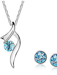 cheap -Women's Stud Earrings Pendant Necklace Classic Precious Unique Design Fashion Silver Plated Earrings Jewelry White / Blue For Daily Street Holiday Work 1 set