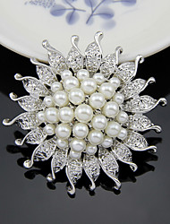 cheap -Women's Brooches 3D Flower Fashion Imitation Pearl Silver Plated Brooch Jewelry Silver For Wedding Party Street Holiday Festival