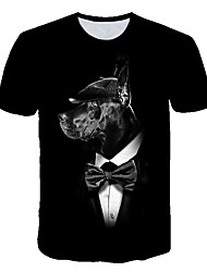 cheap -Men's Daily Sports Street chic / Exaggerated T-shirt - Geometric / 3D / Animal Dog, Print Black