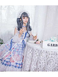 cheap -Sweet Lolita Country Lolita Cute Dress Girls' Female Japanese Cosplay Costumes Blue Cat Plaid / Check Animal Cap Sleeve Short Sleeve Knee Length / Necklace