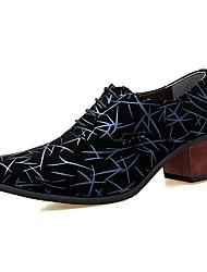 Недорогие -Муж. Комфортная обувь Полиуретан Зима Туфли на шнуровке Черный и золотой / Черный / Черный / синий / Для вечеринки / ужина