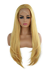 cheap -Synthetic Lace Front Wig Natural Straight Middle Part Lace Front Wig Long Light golden Synthetic Hair 18-24 inch Women's Cosplay Soft Adjustable Blonde / Heat Resistant
