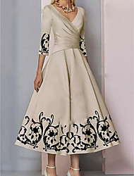 cheap -A-Line Plunging Neck Ankle Length Satin 3/4 Length Sleeve Elegant & Luxurious Mother of the Bride Dress with Pattern / Print 2020