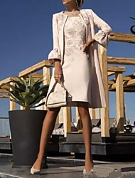 abordables -Fourreau / Colonne Bijoux Mi-long Polyester Manches Courtes Grande Taille / Elégant Robe de Mère de Mariée  avec Dentelle 2020