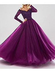cheap -Ball Gown Off Shoulder Floor Length Tulle Sparkle / Purple Prom / Quinceanera Dress with Beading / Sequin 2020