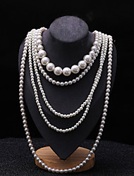 cheap -Women's Layered Necklace Pearl Strands Long Ladies Asian Bridal Multi Layer Pearl White Black Red Light gray Necklace Jewelry 1pc For Wedding Party Special Occasion Birthday Gift / Pearl Necklace