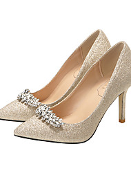 cheap -Women's Wedding Shoes Stiletto Heel Pointed Toe Synthetics Sweet Spring &  Fall Champagne / Silver / Party & Evening
