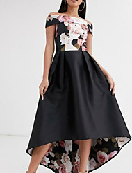 cheap -A-Line Off Shoulder Asymmetrical Polyester Floral Prom / Formal Evening Dress 2020 with Pattern / Print