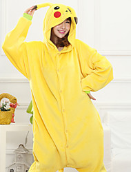 cheap -Adults' Kigurumi Pajamas Pika Pika Onesie Pajamas Coral fleece Yellow Cosplay For Men and Women Animal Sleepwear Cartoon Festival / Holiday Costumes / Leotard / Onesie / Leotard / Onesie