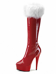 cheap -Women's Boots Cone Heel Round Toe Feather PU Mid-Calf Boots Classic / Minimalism Spring &  Fall / Fall & Winter Black / Clear / Light Red / Party & Evening