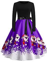 cheap -Women's Purple Red Dress Elegant Christmas Party A Line Floral S M