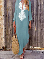 cheap -Women's Elegant Shift Dress - Geometric Yellow Green Navy Blue S M L XL